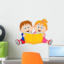 Children Reading Book Wall Mural Decal By Wallmonkeys Vinyl Peel And Stick Graphic 18 In W X 13 In H Walmart Com Walmart Com