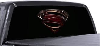 Amazon Com Vuscapes 23 Lee 803 Szd Superman Logo Black Rear Window Truck Graphic Decal Suv View Thru Vinyl Automotive