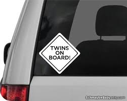 Twins On Board White Vinyl Car Decal Etsy