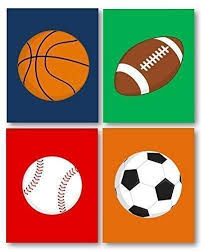 Sports Decor Art For Boys Room Sports Art For Kids Sport Nursery Art Prints Sports Theme Ball Art Boys Art Prints Sport Balls Art Prints Only Unframed Not Canvas Buy Online