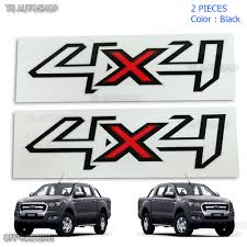 Pair Set Sticker Decals 4x4 Black Red For Ford Ranger T6 Ute Pickup 2012 2018 Ebay