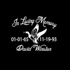 Duck Hunter In Loving Memory Window Decal Sticker Custom Sticker Shop
