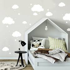 Wall Decal Clouds And Stars White Vinyl Decal Child Room Decoration Sky With 100 Pieces M2334 Wall Decals Bumper Sticker Murals Bags Cups Backpacks And Many More At Www Deinewandkunst Com