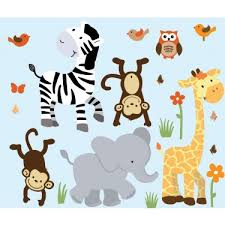 Nursery Jungle Wall Decals With Zebra Wall Decals For Boys Rooms