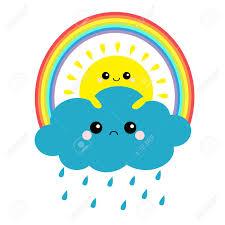 Sun Holding Cloud, Rainbow Set. Rain Drop Weather. Smiling Sad ...