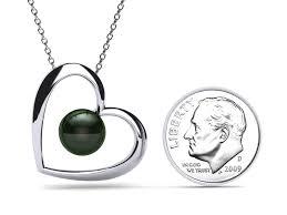 black tahitian pearl open heart pendant