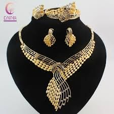 costume jewelry sets 18k gold plated