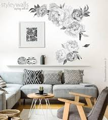 Peony Flowers Wall Decal Black And White Watercolor Peonies Etsy