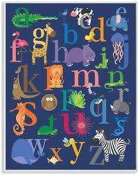 Amazon Com The Kids Room By Stupell Navy Alphabet Animal Icons Wall Plaque 10x15 Design By Artist Lezleelliott Home Kitchen