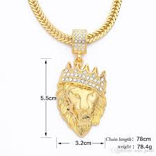 iced out man pendant hip hop gold lion