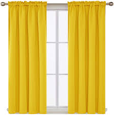 Amazon Com Deconovo Room Darkening Curtains Blackout Curtain With Rod Pocket Yellow Curtains For Kids Room 42wx54l Inch Mellow Yellow 2 Panels Furniture Decor