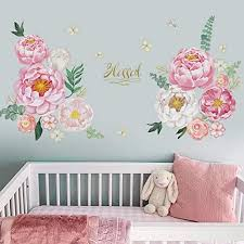 Amazon Com Runtoo Peony Flower Wall Decals Floral Rose Blessed Wall Art Stickers Living Room Bedroom Family Wall Decor Kitchen Dining
