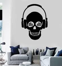 Wall Stickers Vinyl Decal Skull Music In Headphones Z1162 Wall Stickers Vinyl Decals Vinyl Sticker