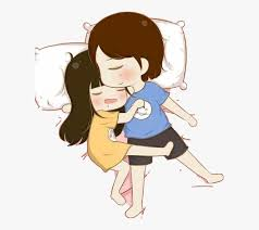 cuddle sticker sleep love hug cartoon