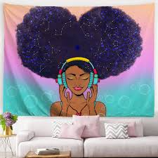Amazon Com Ortigia African American Black Girl Tapestry Wall Hanging Home Decor Constellation Theme For Bedroom Kids Room Living Room Dorm Office Polyester Fabric Needles Included 80 W X 60 L 200cmx150cm Everything Else