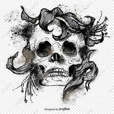 أبيض وأسود جمجمة جمجمة عناصر مرسومة باليد السكب جمجمة جماجم Png