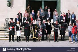 Pictured: Councillor Philip Downing (4th LEFT), H.M. Lord ...