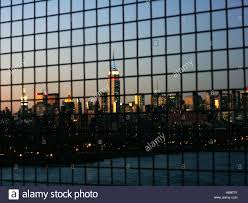 Urban Scene Of Manhattan Through A Fence Empire State Building Is Stock Photo Alamy