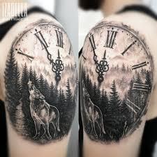 Zegar Las Wilk Clock Forest Wolf Samsara Tattoo Pracownia