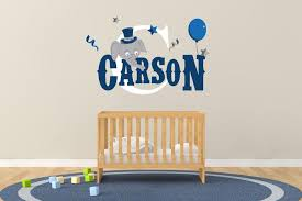 Custom Name Initial Elephant Balloon Wall Decal Egraphicstore