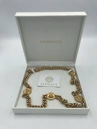 versace 24k white gold plated necklace