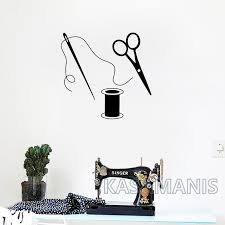 Scissors Vinyl Wall Stickers Art Decor Removable Sewing Tailor Wall Decals For Fabric Sewing Room Art Mural Decoration Leather Bag