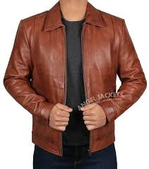 brown casual style leather jacket