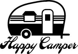 C1118 Happy Camper Travel Trailer Decal Sticker Hiking Camping Camp Tent Hiker