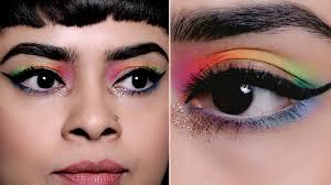 easy rainbow cut crease eye makeup look
