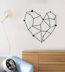 Vinyl Wall Decal Space Stars Heart Romance Love Polygonal Stickers 25 Wallstickers4you