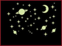 Amazon Com Oocc Saturn And Stars Fluorescent Dot Glow In The Dark Stickers Wall Decals Home Art Decor Decal Vinyl Removable Radium Night Glow Wall Decals Glow Night Star Sticker Mural Art Wallpaper