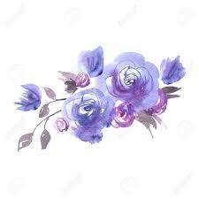 Flores Lindas De La Acuarela Rosas Azules Elementos Para La