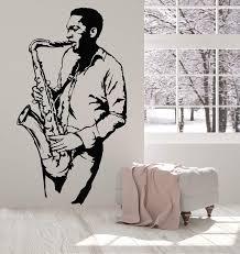 Vinyl Wall Decal Saxophone Player Jazz Club Musician Black Man Sticker Wallstickers4you