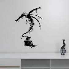 Inky Dragon Wall Decal Ancient Mythical Animal Vinyl Sticker Fantasy Monster Art Decorations For Bedroom Medieval Decor A800 Wall Stickers Aliexpress