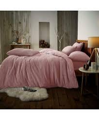 teddy fur fleece duvet cover set purple