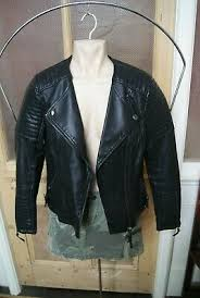 black faux leather collarless jacket