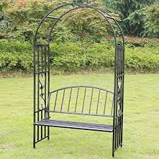 victorian style garden arch with seat