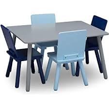 Amazon Com Delta Children Kids Table And Chair Set 4 Chairs Included Ideal For Arts Crafts Snack Time Homeschooling Homework More Grey Blue Baby