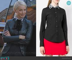 WornOnTV: Ada's black embellished collar blouse and leather jacket on  Dynasty | Katherine LaNasa | Clothes and Wardrobe from TV