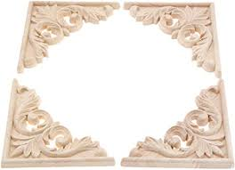 Amazon Com 4 Pack Wood Carved Decal Furniture Applique Corner Onlay 11x11cm 4 33 X4 33 Frame Decoration Furniture Wall Unpainted Home Cabinet Door Decor Craft Home Improvement