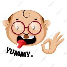 الرموز التعبيرية الإنسان مضحك مع رمز لذيذ والحروف التوضيح وجه