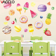 Vacclo Ice Cream Macarons Donut Wall Stickers Bedroom Window Decoration Stickers Children Room Cartoon Wall Declas Wallpaper Aliexpress