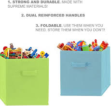 8 Pack Nursery And Playroom Pomatree Fabric Storage Bins Durable Storage Cubes With 2 Reinforced Handles Foldable Cube Baskets For Home Kids Room Closet And Toys Organization White Home Kitchen Open