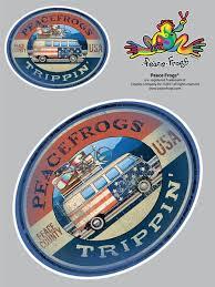 Trippin Peace Frogs Car Sticker Enjoy It