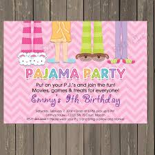 Pajama Party Sleepover Birthday Party Invitation In Pink Chevron