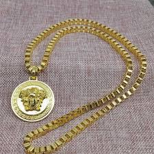 gold round medusa head pendant necklace