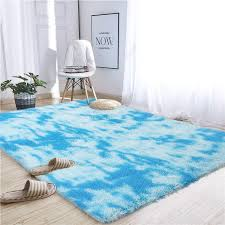 Amazon Com Noahas Abstract Shaggy Rug For Bedroom Ultra Soft Fluffy Carpets For Kids Nursery Teens Room Girls Boys Thick Accent Rugs Home Bedrooms Floor Decorative 4 Ft X 6 Ft Sky Blue
