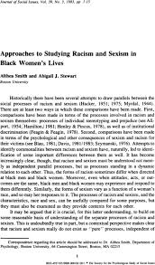 Approaches to Studying Racism and Sexism in Black Women's Lives - Smith -  1983 - Journal of Social Issues - Wiley Online Library
