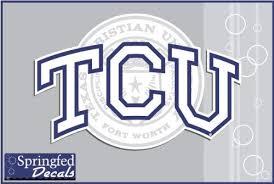 Amazon Com Tcu Horned Frogs Tcu With Seal Logo 6 Vinyl Decal Texas Christian Car Truck Sticker Kitchen Dining