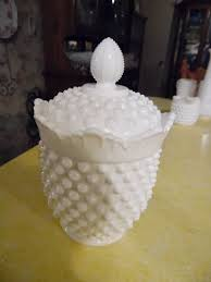 fenton milk glass hobnail covered candy